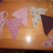a garland of pennants in five different fabrics