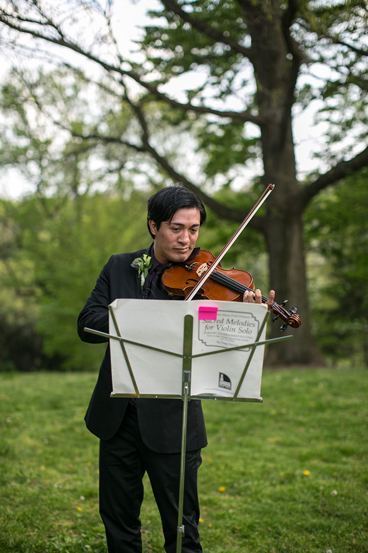 our officiant, processional violinist, and friend
