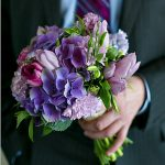 my bouquet, held by my husband-to-be (see his matching tie?)