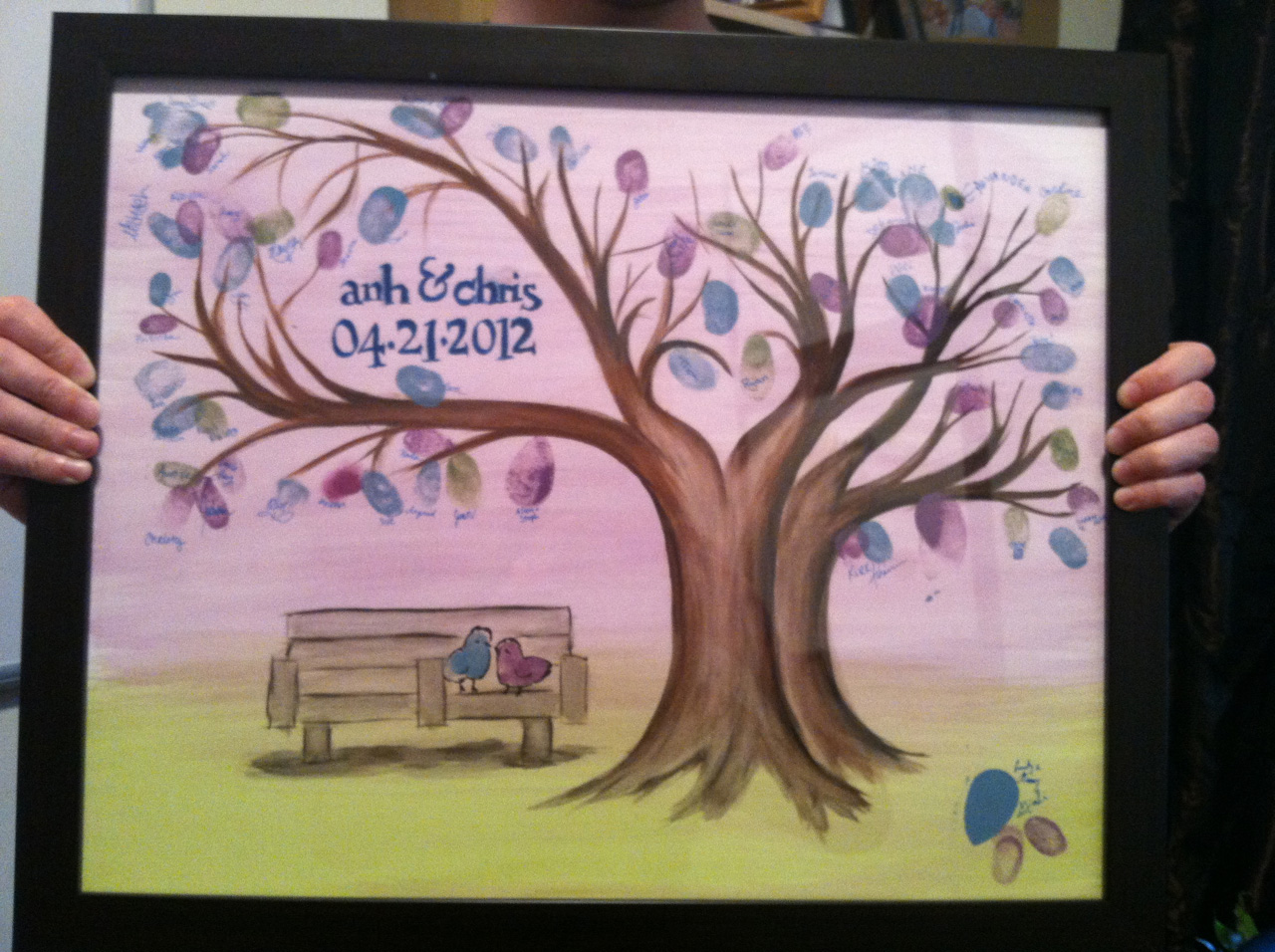 our wedding tree, signed and framed!