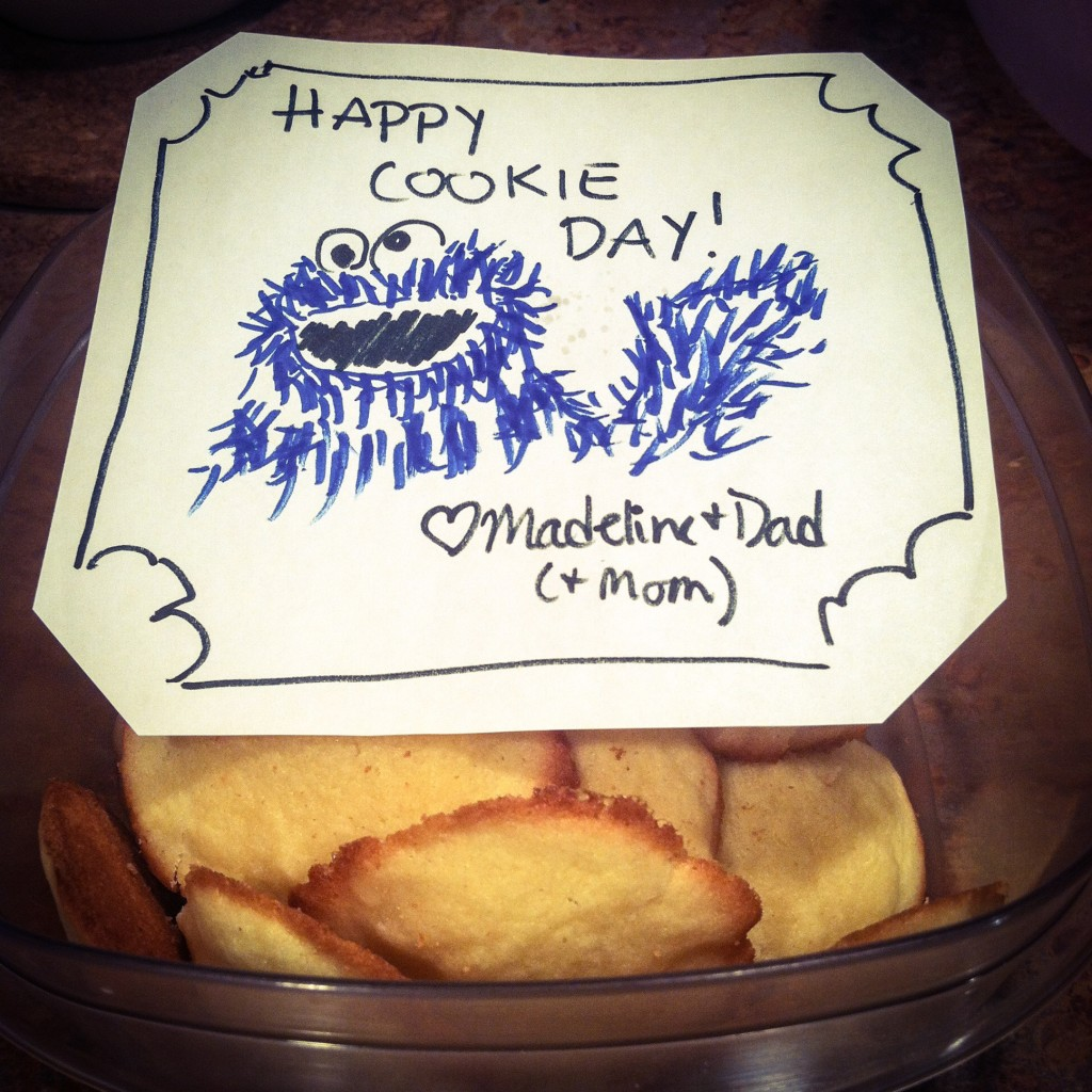 cookies baked by dad, card drawn by mom