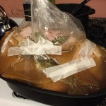 brining the turkey with some help from medical tape and a  binder clip