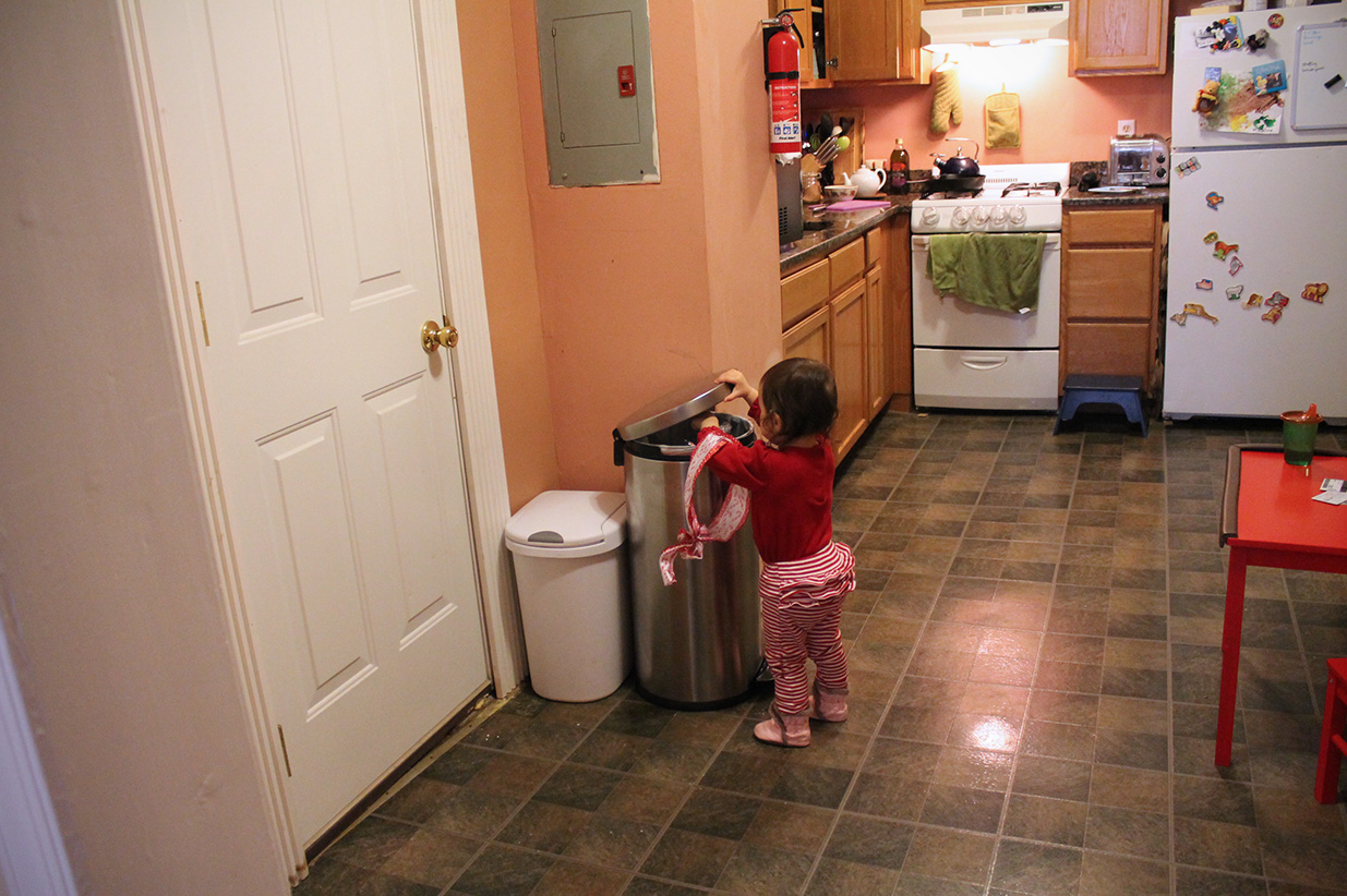 M loves to put things in the trash.